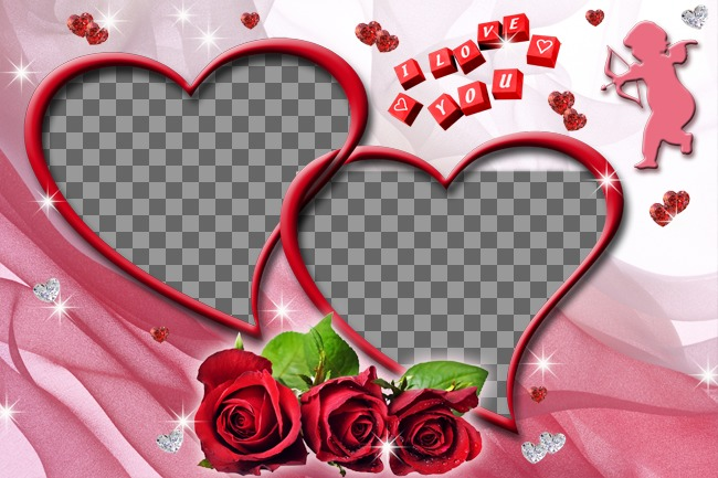 Montagem de duas fotos em forma de coração com rosas e fundo rosa