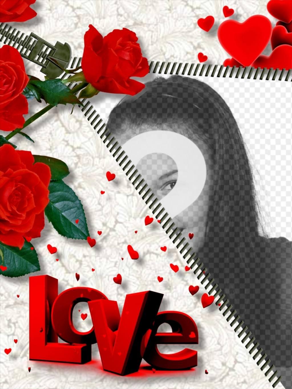 Quadro de fotos online LOVE , que inclui a foto que você deseja ao abrir um zíper. Rosas enfeitam a montagem