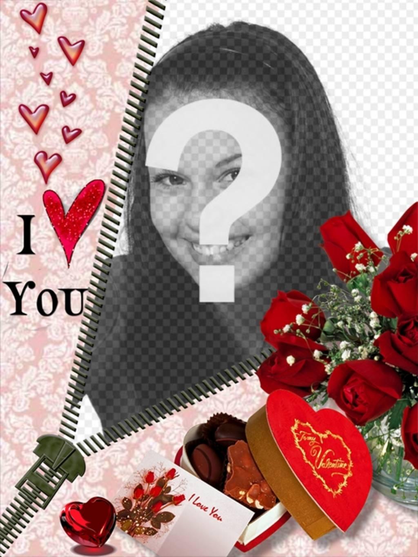 Fotomontagem de amor abrir um zíper em que seu amado aparece
