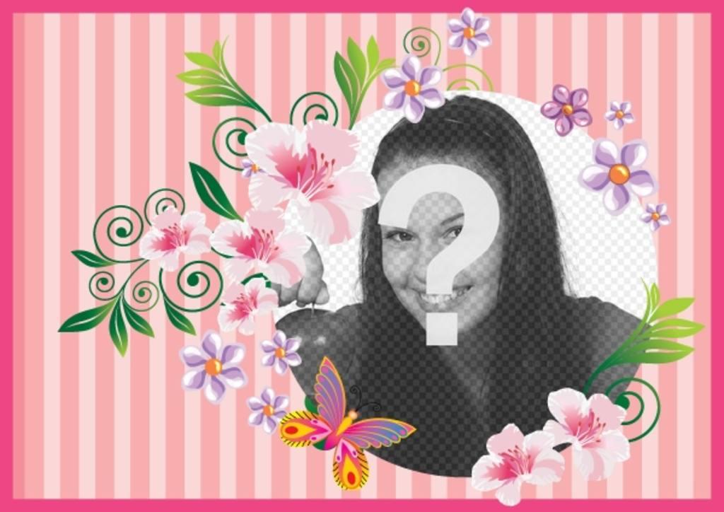 Postal para o dia da mãe com fundo rosa com flores e borboletas para personalizar com foto e texto para felicitá-la
