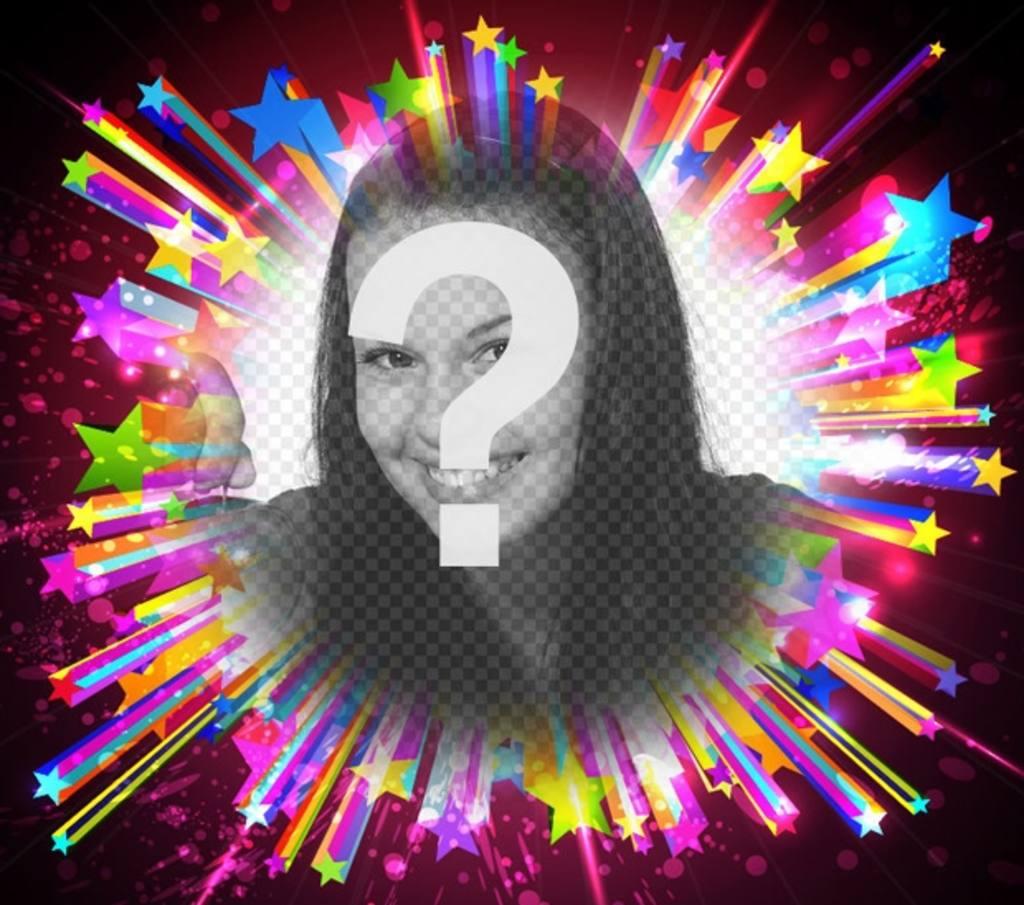 Moldura para fotos com estrelas de cores brilhantes