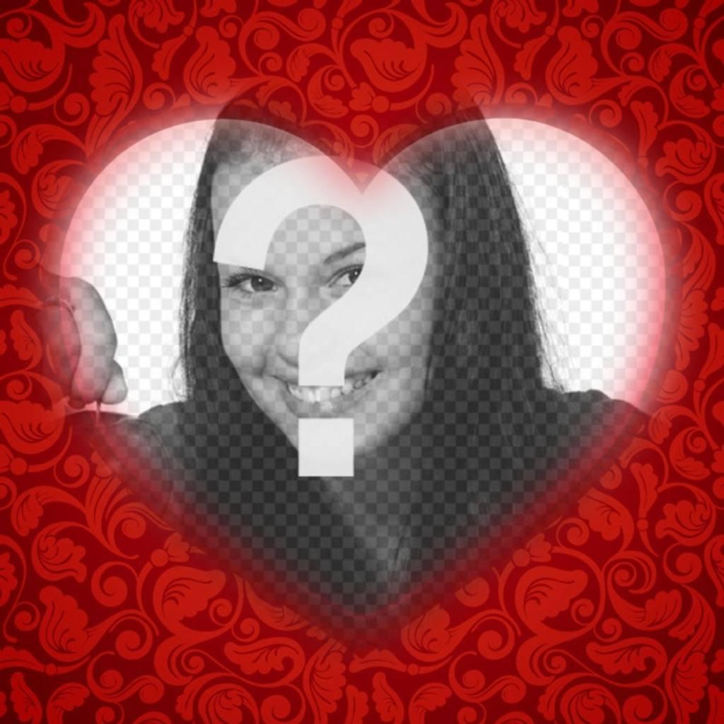 Cartão romântico com um coração para personalizar sua foto com uma moldura vermelha e adicionar texto