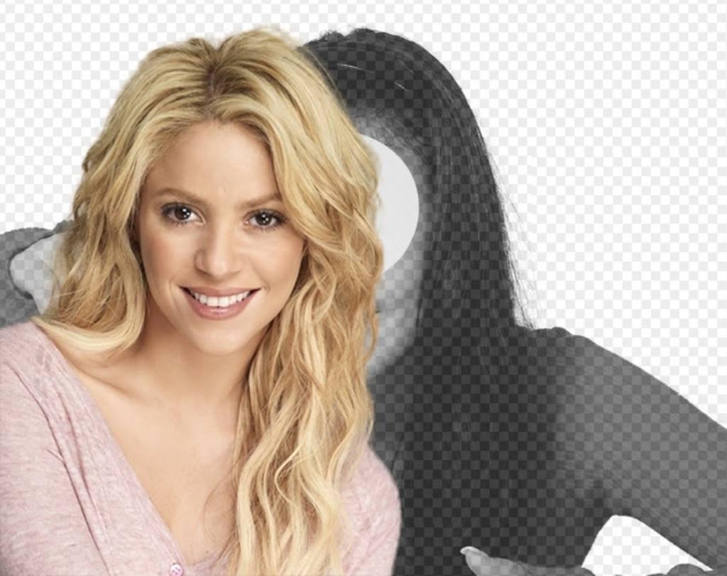 Fotomontagem com Shakira loira com cabelo ondulado longo para colocar a sua foto e texto