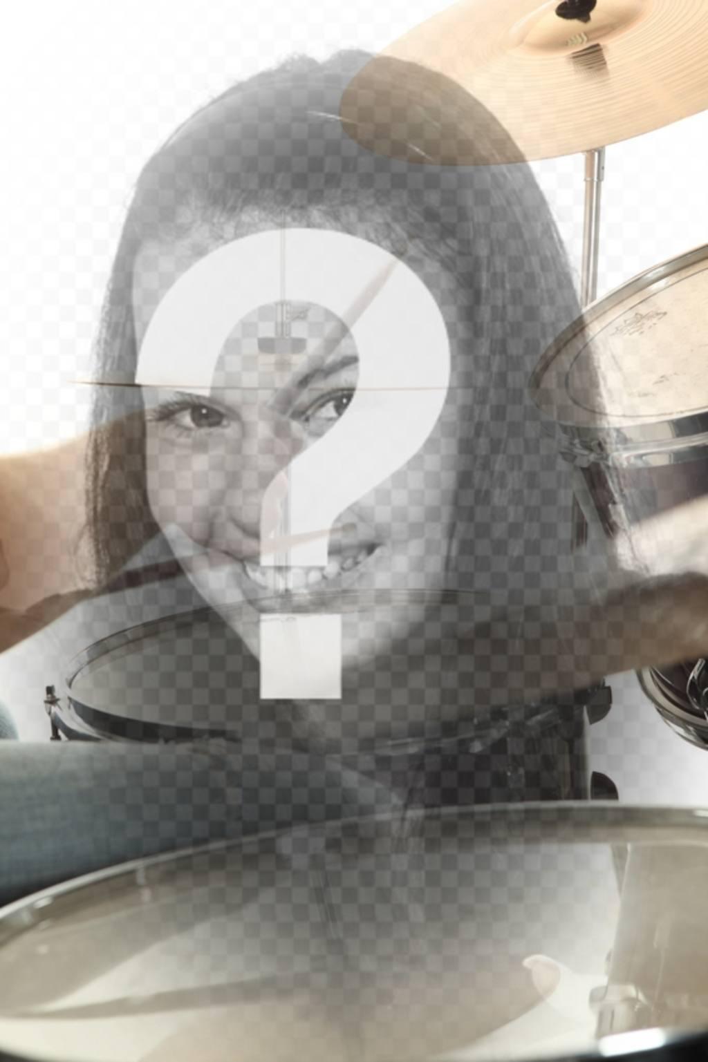 Colagem com uma imagem da música da bateria semi-transparente, que se funde com a sua imagem