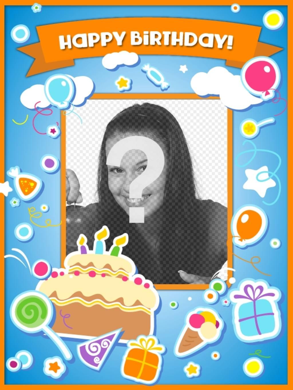 Cartão de aniversário para felicitar o aniversário e colocar uma imagem online com um bolo, balões e presentes com efeito adesivo