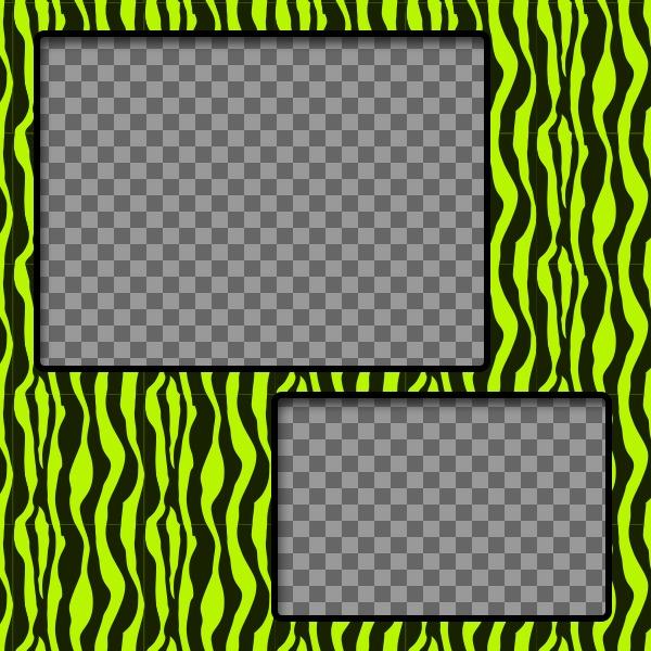 Criar uma colagem com o verde e amarelo modelado zebra e duas fotos online
