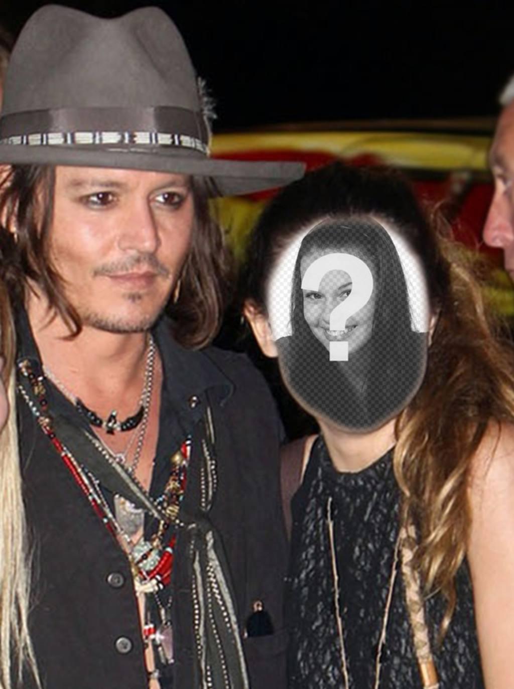 Fotomontagem com Johnny Depp para tirar uma foto com ele e escrever algum texto sobre ele online