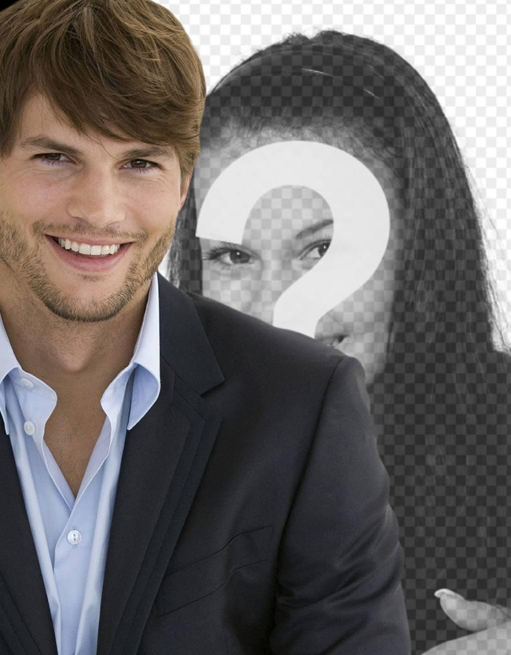 Fotomontagem com Ashton Kutcher em um terno com barba por fazer e cabelo curto para ter uma foto com ele