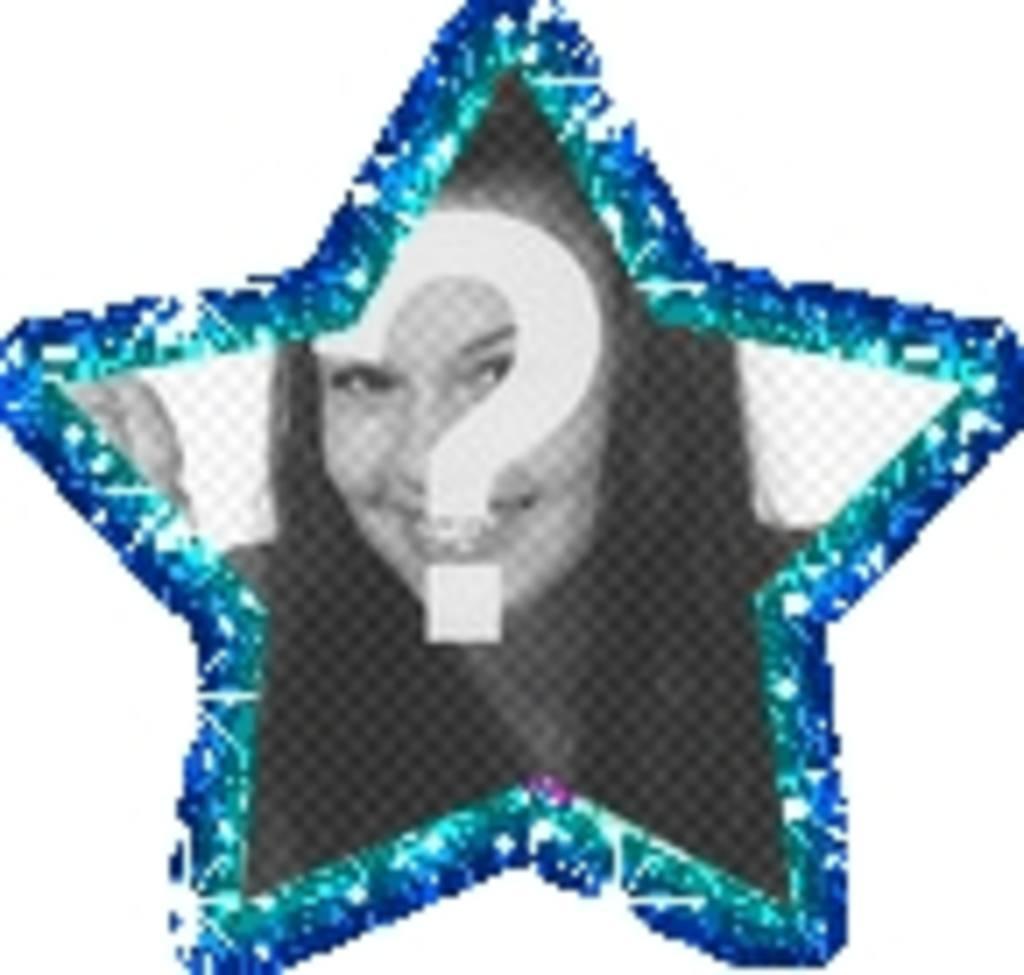 Moldura animada em forma de estrela. Sua foto com uma estrela azul animada sobre sua foto. A animação brilha como purpurina