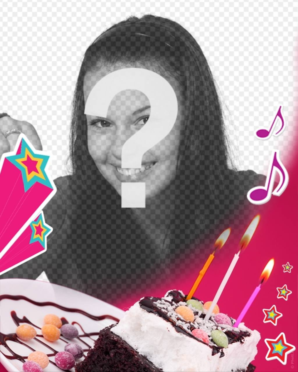 Cartão de aniversário, onde você faz o upload de uma imagem com um fundo rosa, um bolo com velas, estrelas e música