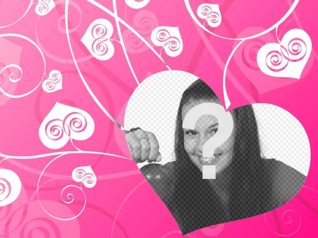 Fotomontagem de amor para decorar suas fotos românticas com um fundo de corações brancos no chão-de-rosa, criando um efeito do amor