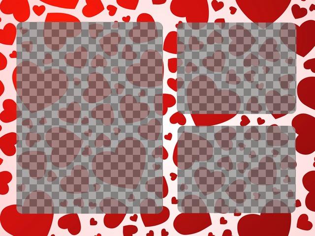 Moldura para 3 fotos com corações vermelhos Design Onde upload de fotos on-line e criar colagens de amor que você deseja