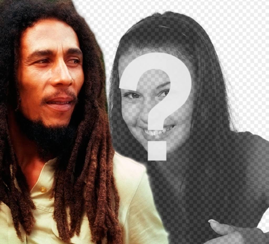 Criar uma fotomontagem com Bob Marley ao seu lado carregando uma imagem on-line e acrescentando uma frase livre