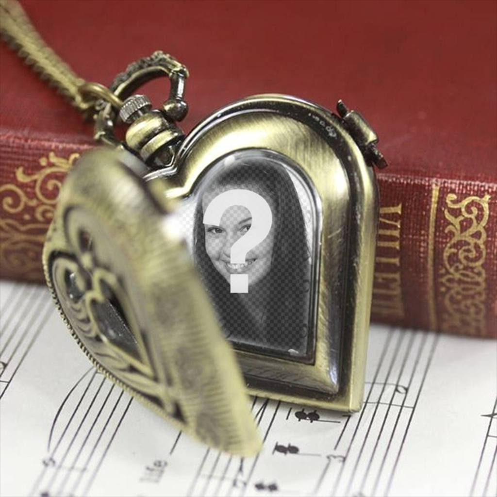 Fotomontagem com um coração relógio de bolso em forma de colocar uma foto de seu parceiro dentro