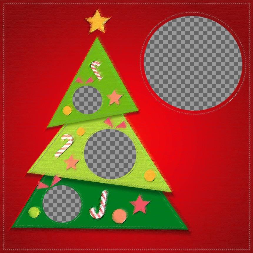 Montagem da árvore de Natal para colocar 4 fotos dentro da árvore e uma imagem grande