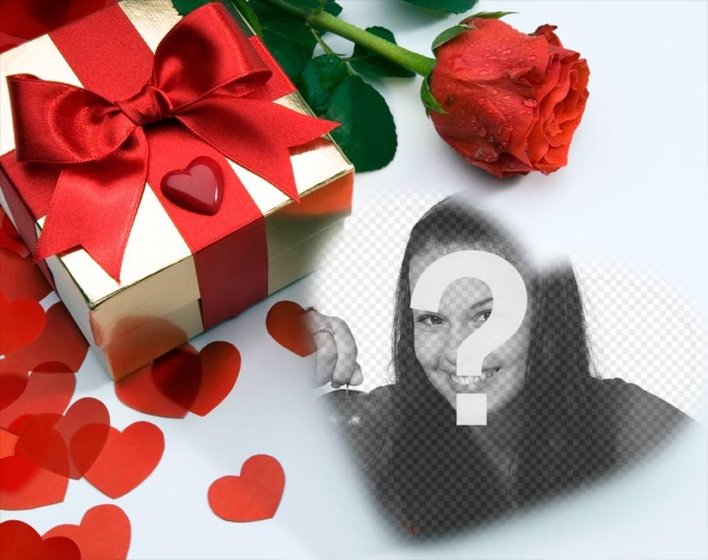 Cartão de amor em que há um presente, corações e uma rosa. Você pode colocar sua foto dentro de um coração