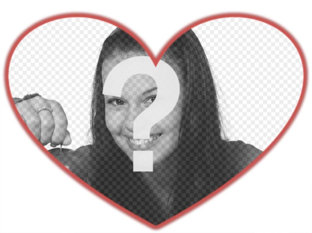 Máscara de fotos com formato de coração e borda vermelha que você pode adicionar uma imagem de fundo
