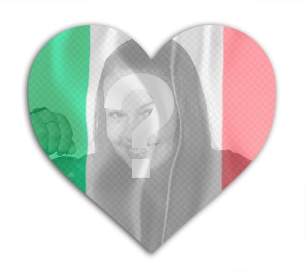Efeito da foto do coração da bandeira italiana em forma de colocar sua foto. efeito