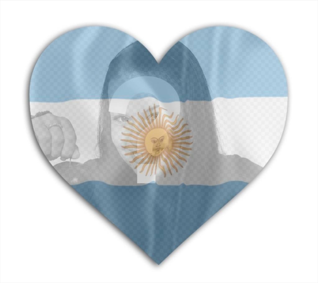 Insira sua foto com a bandeira da Argentina com forma do coração de fundo