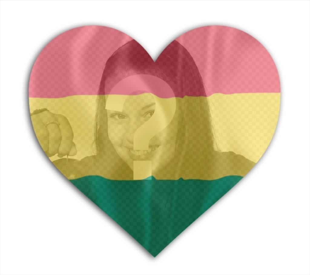 Fotomontagem com bandeira da Bolívia com forma do coração no qual você pode adicionar sua foto de fundo