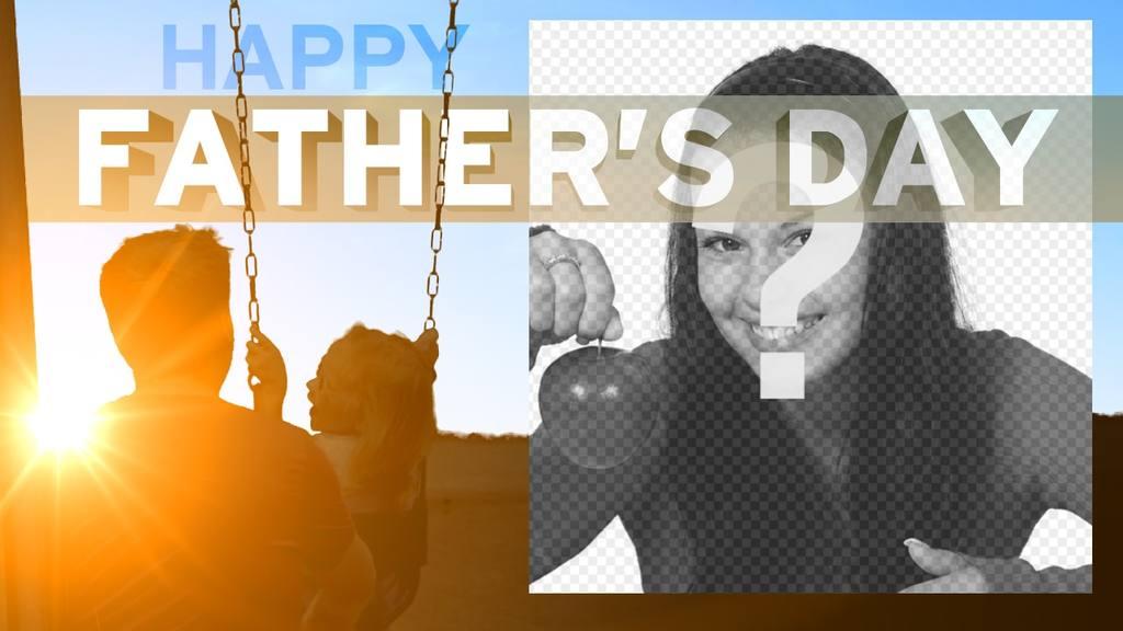 Felicita Dia dos Pais com este cartão ao pôr do sol em um balanço