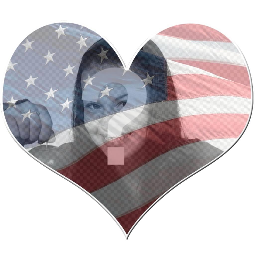 Em forma de coração moldura exibindo a bandeira dos EUA
