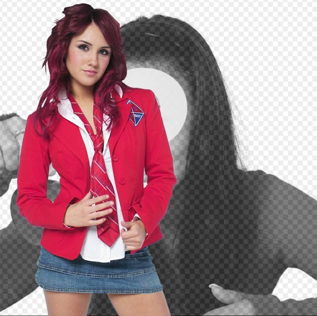 Fotomontagem com Dulce Maria Rebelde de uniforme