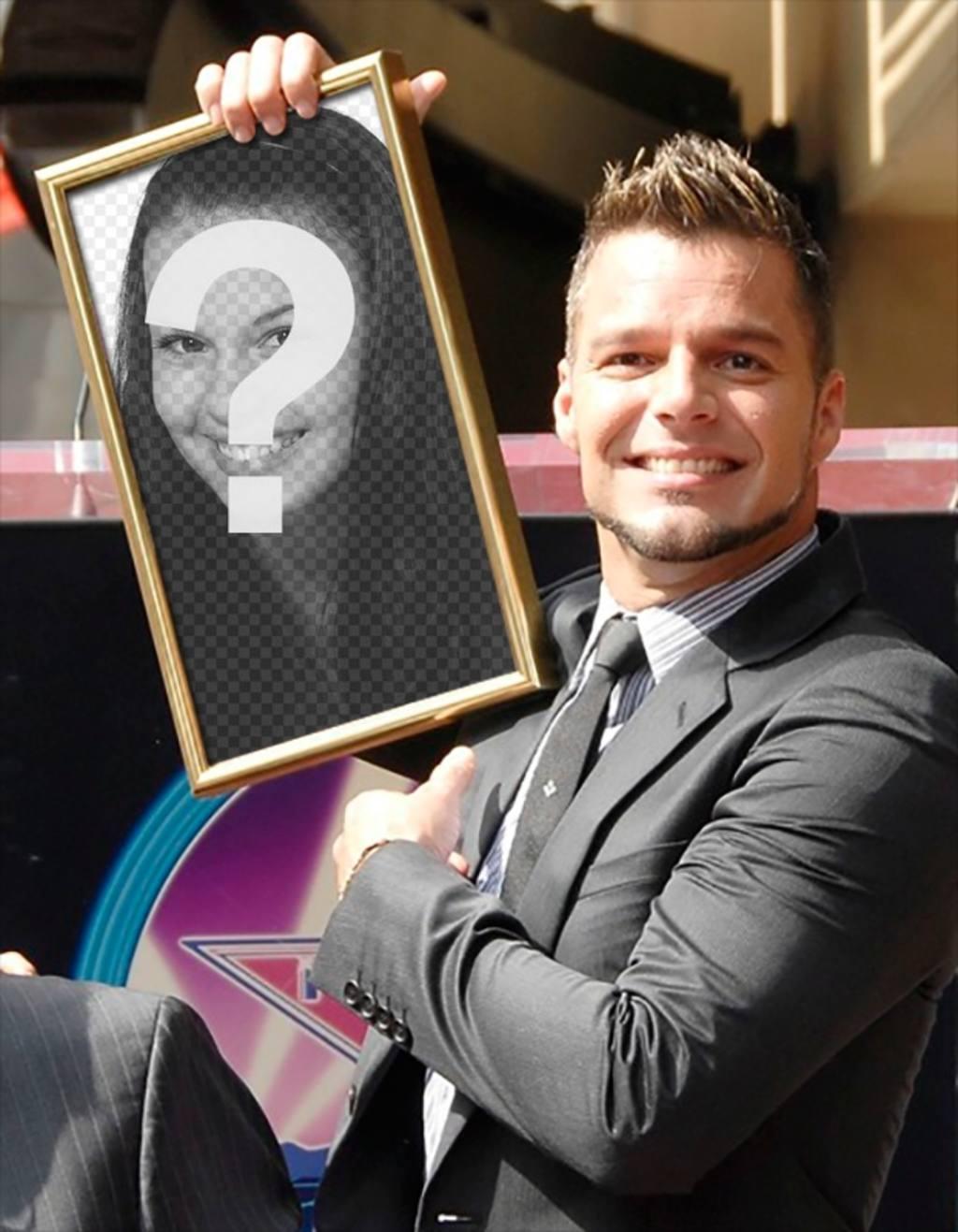 Montagem com Ricky Martin para aparecer em sua mesa