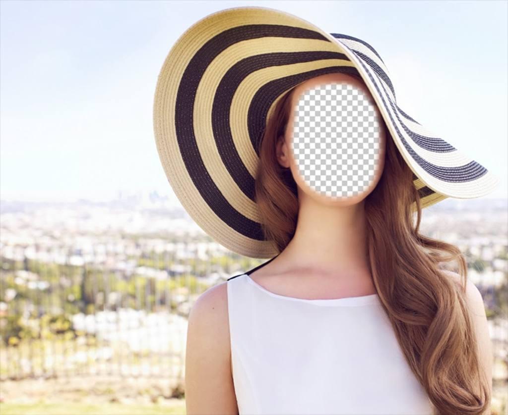 Fotomontagem para editar de Lana del Rey levanta no sol com um chapéu grande