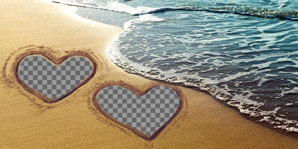Colagem de amor com dois corações marcados na areia da praia