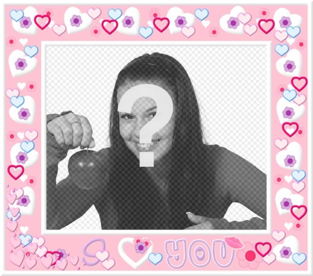 Moldura com corações cor de rosa, para colocar sua foto no fundo