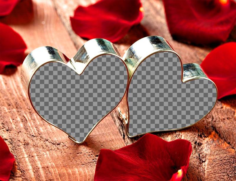 Colagem de amor com suas duas fotografias corações anel