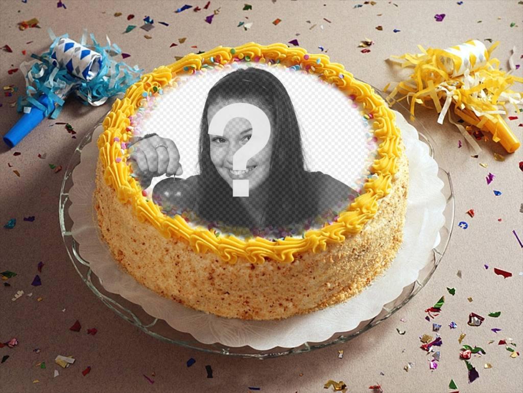 Fotomontagem com o partido, confetes e um bolo de aniversário