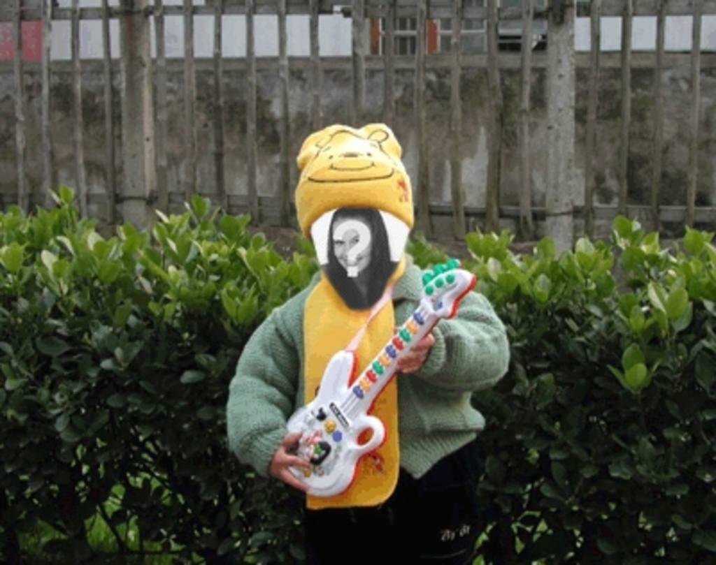 Divertida animação para tornar a sua imagem boneco tocando guitarra