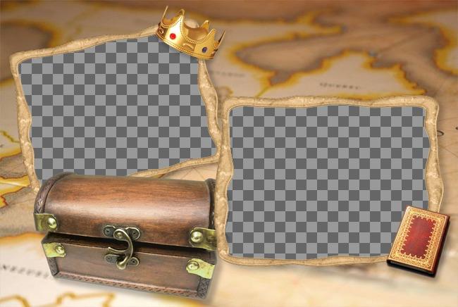 Quadro de imagem baú do tesouro com um mapa de fundo