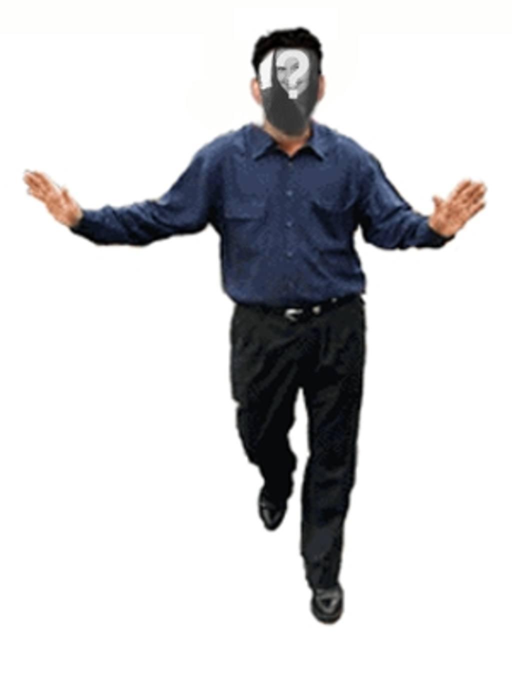 Animação de um homem dançando para colocar a sua foto no seu rosto