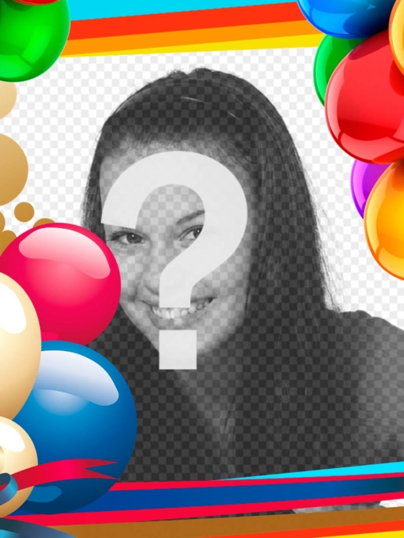 Moldura com balões coloridos