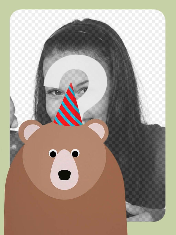 Moldura para foto de aniversário com um urso