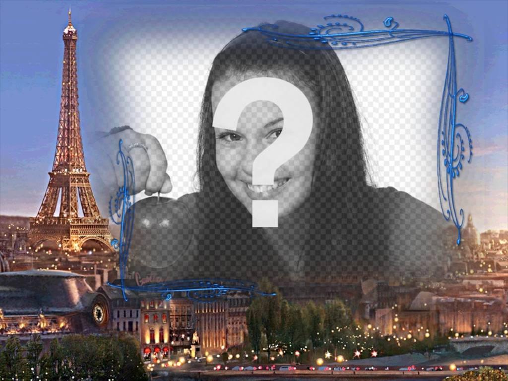Moldura com fundo Paris, a cidade do amor para fazer com uma imagem