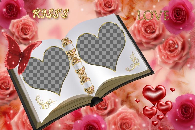 Moldura personalizável com duas fotos diferentes. Livro de amor com enfeites de rosas