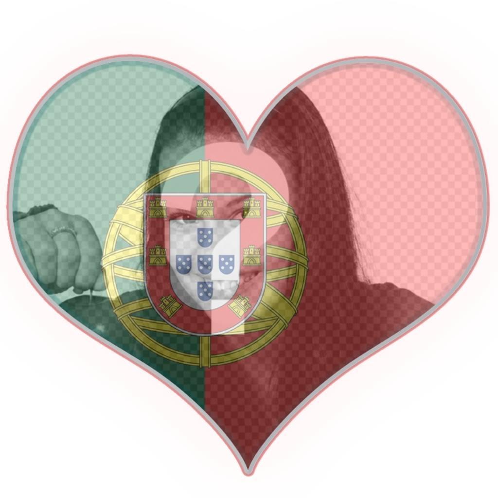 Bandeira de Portugal em forma de coração com o seu