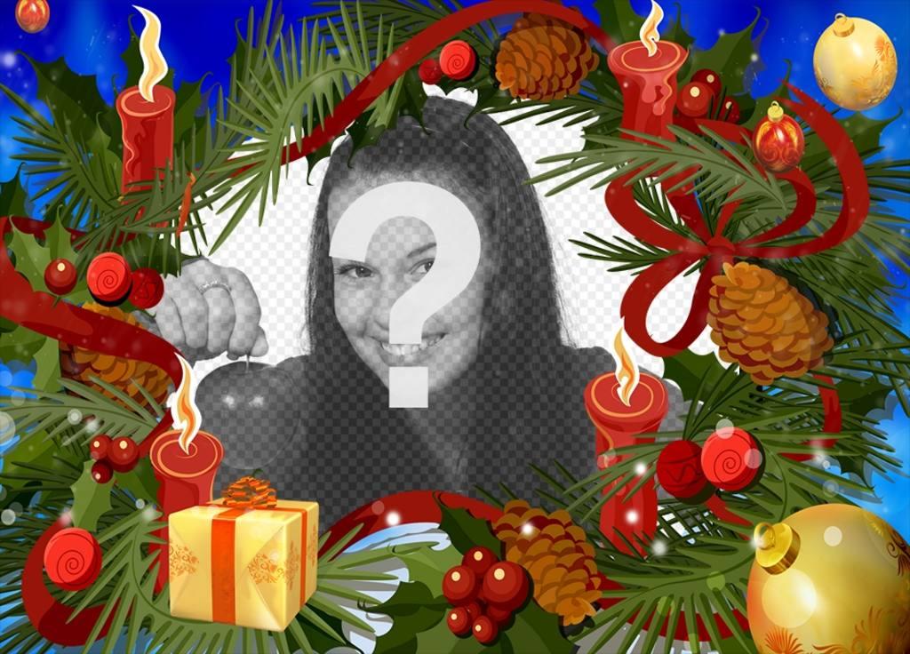 Natal moldura com uma guirlanda com velas