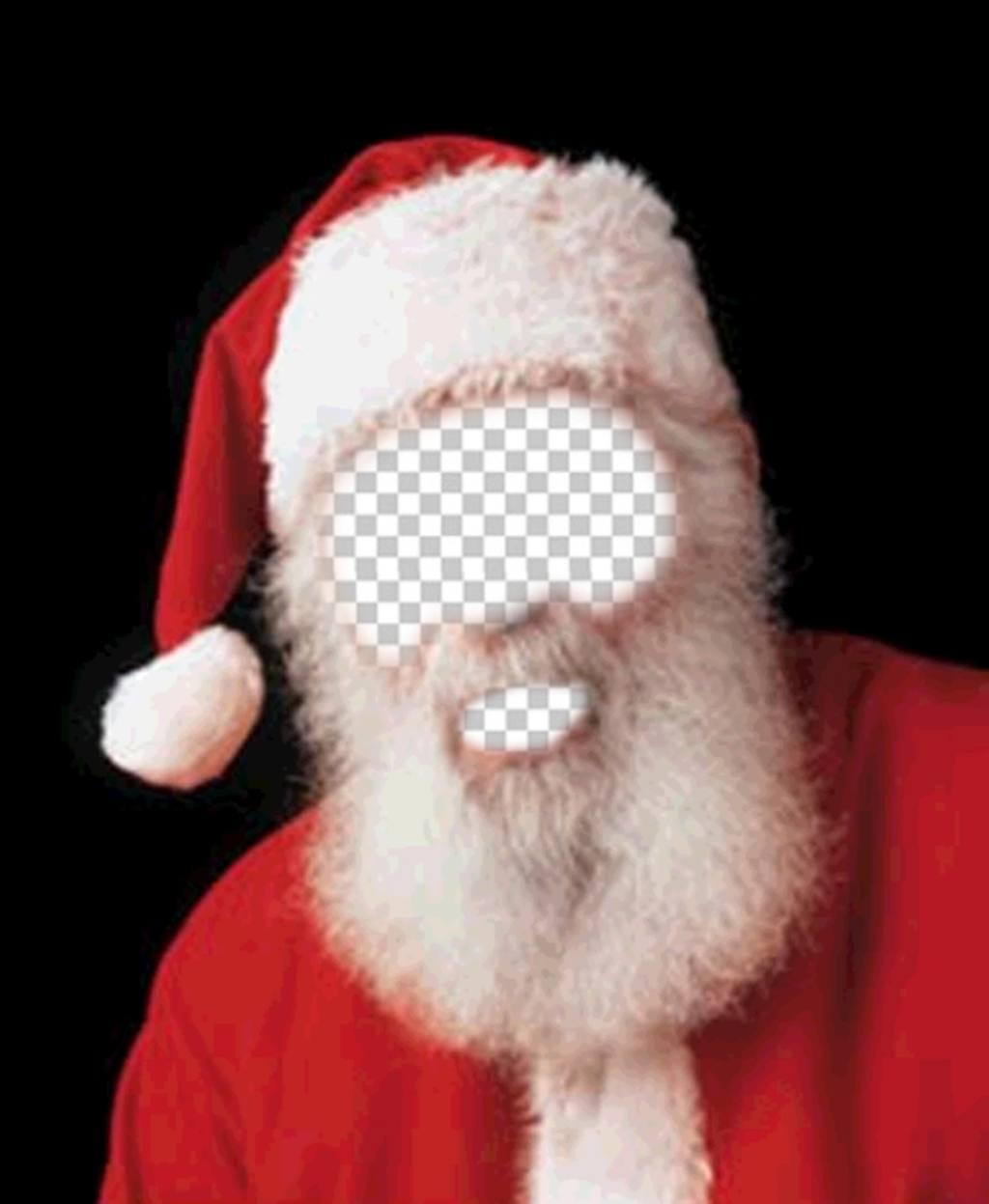 Montagem da foto da fantasia de Papai Noel para o Natal