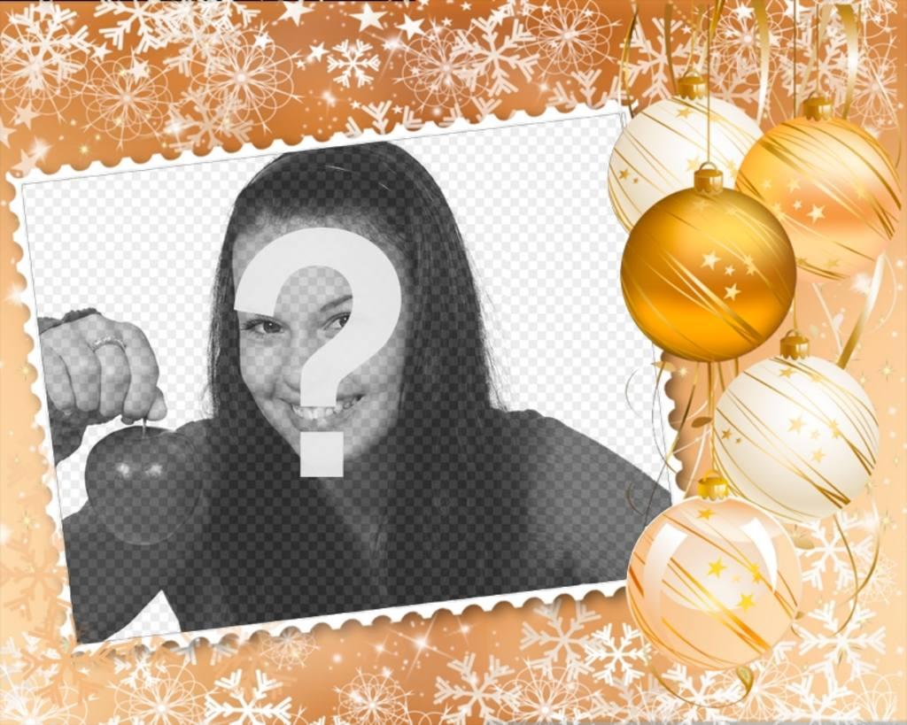 Coloque sua foto em uma moldura decorada com enfeites de Natal