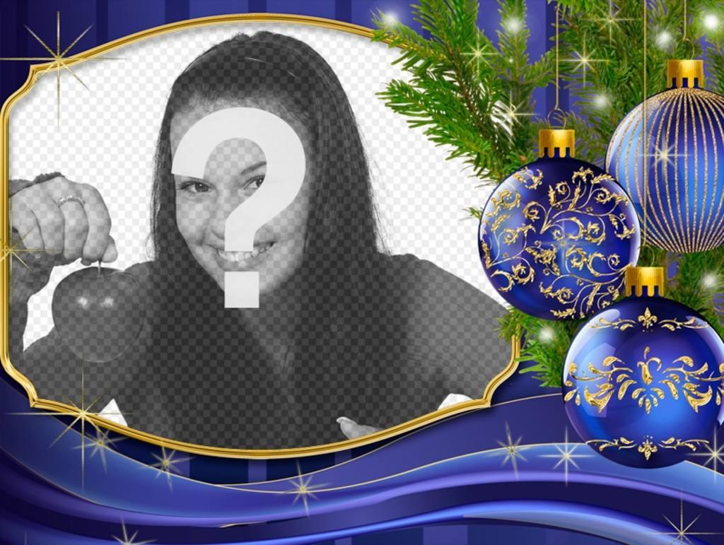 Coloque sua foto ao lado deste cartão de Natal com enfeites