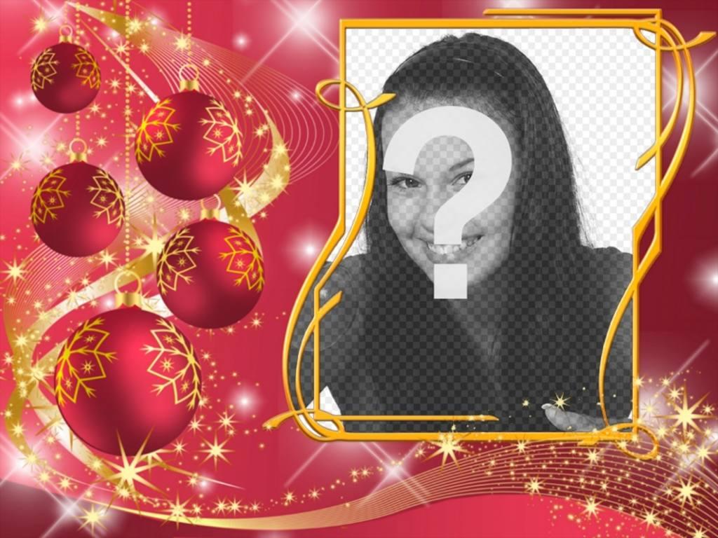 Moldura vermelha para colocar sua foto com bolas de Natal
