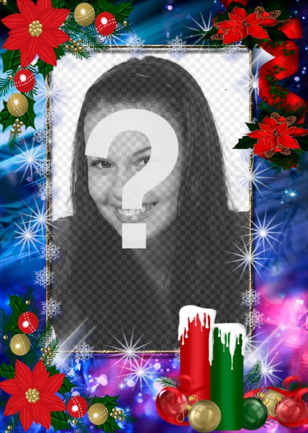 Foto moldura decorada para o Natal e você pode personalizar com sua foto