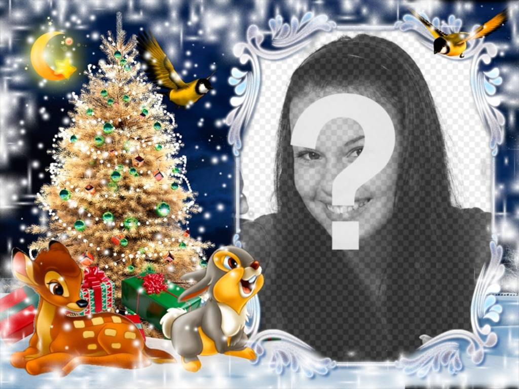 Cartão do Natal para colocar a sua foto com o Bambi
