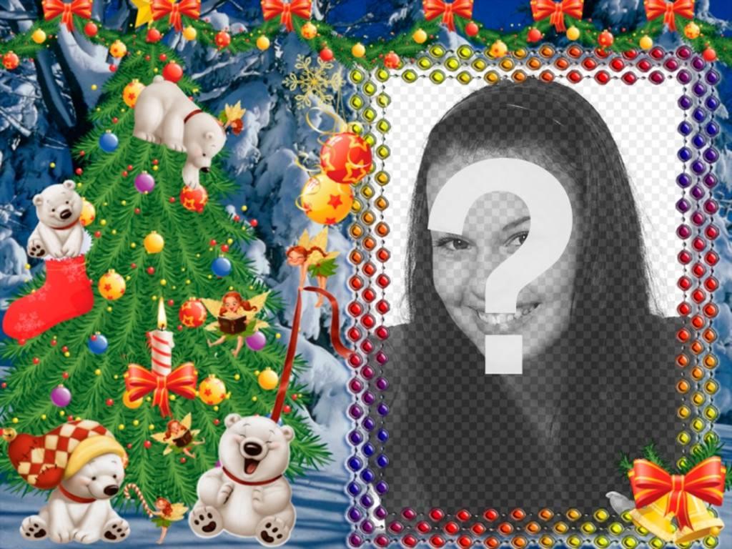 Ponha a sua foto neste quadro de Natal com ursos panda