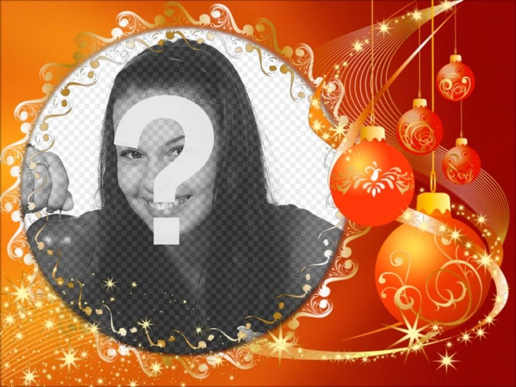 Moldura com enfeites de Natal para colocar sua foto